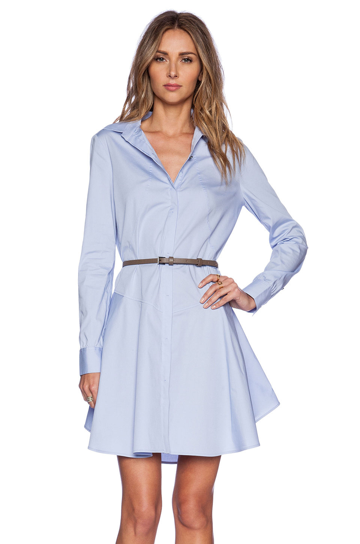 платье с длинным рукавом голубое фото