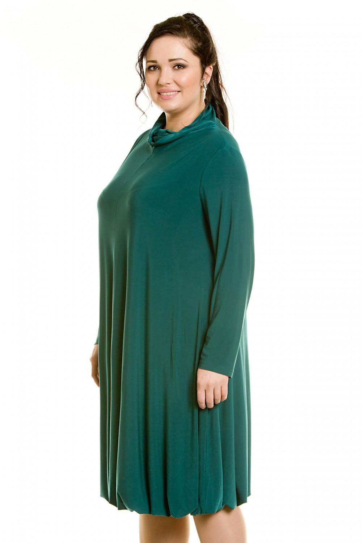 платье с длинным рукавом для полных зеленое фото