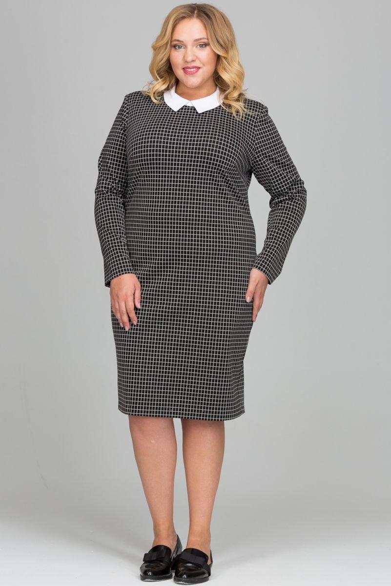 платье с длинным рукавом для полных в клетку фото