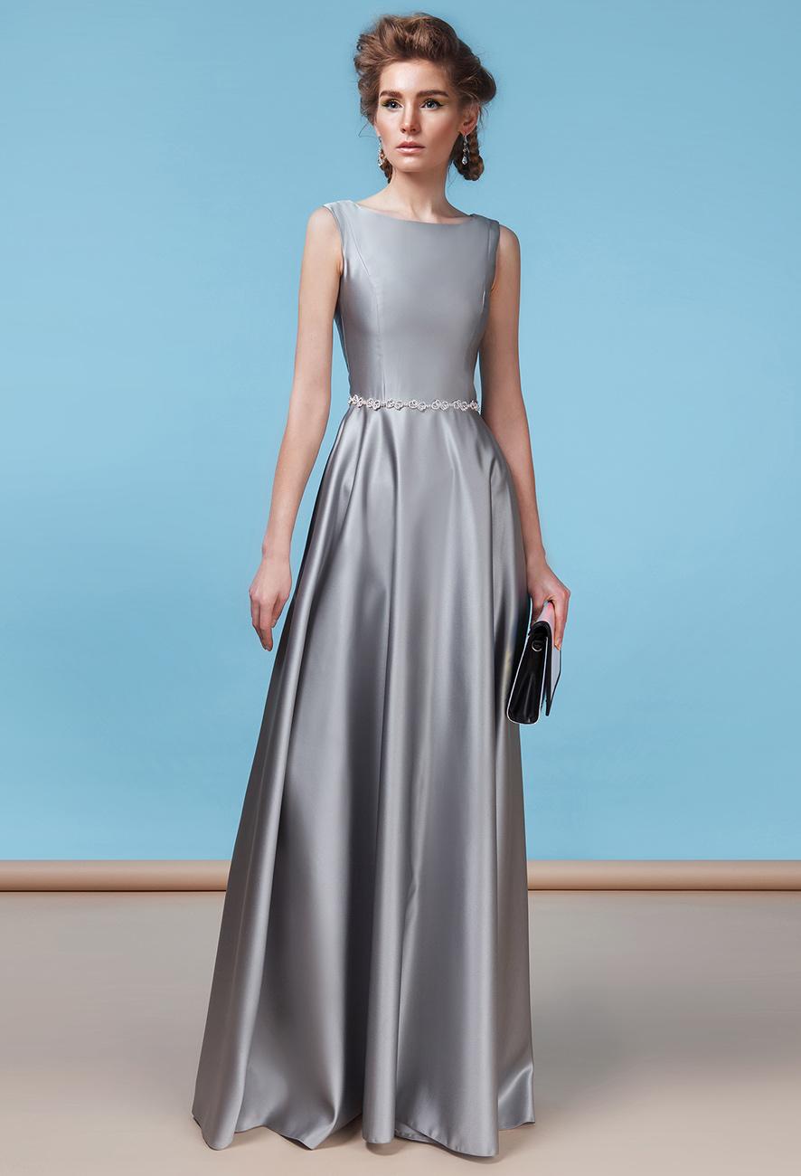 атласное платье А силуэта