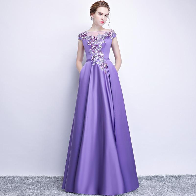 атласное платье на выпускной фиолетовое