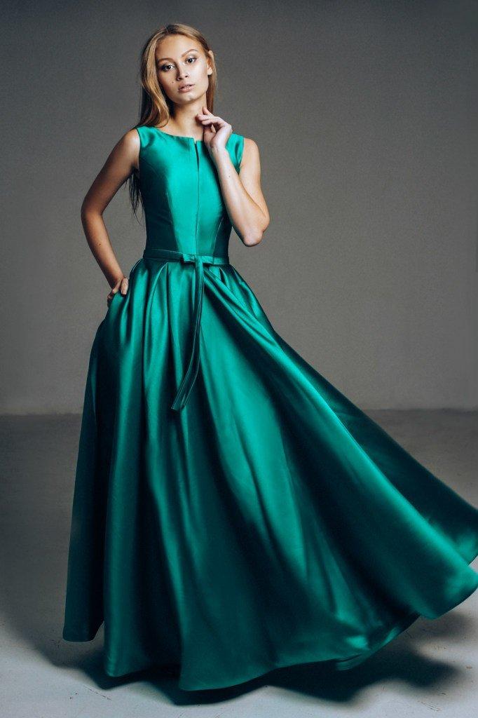 атласное платье цвет зеленый