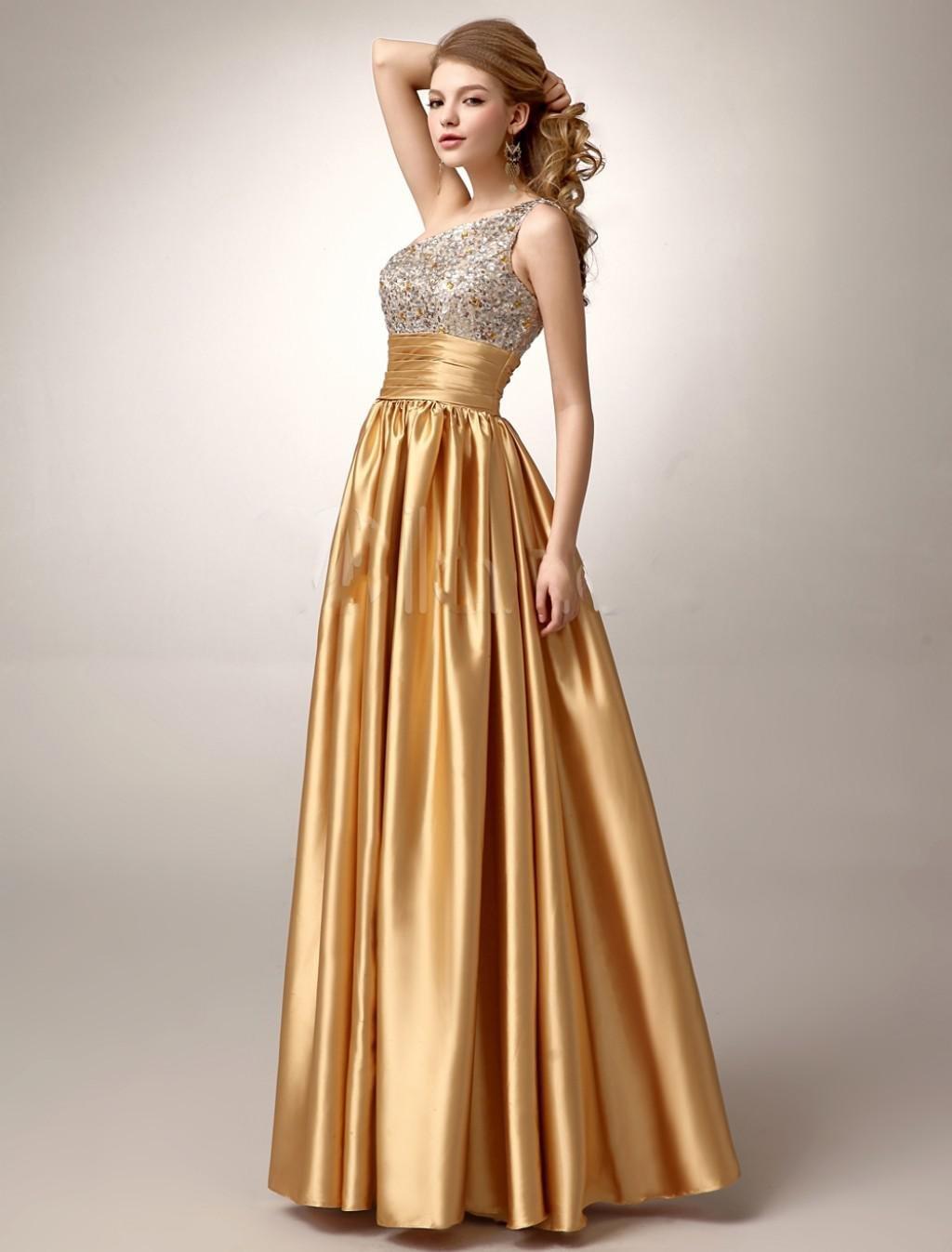 атласное платье цвет золотой