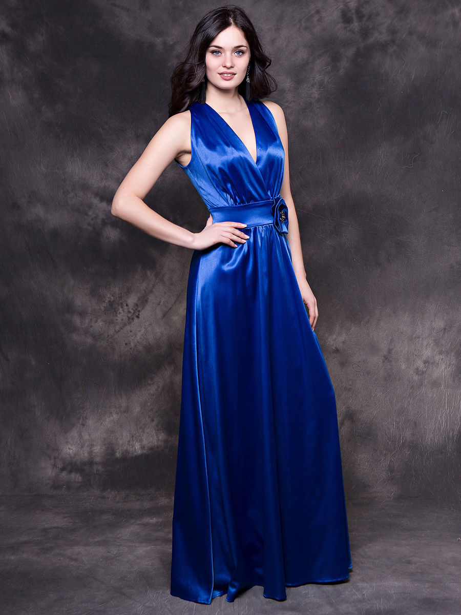 атласное платье цвет синий