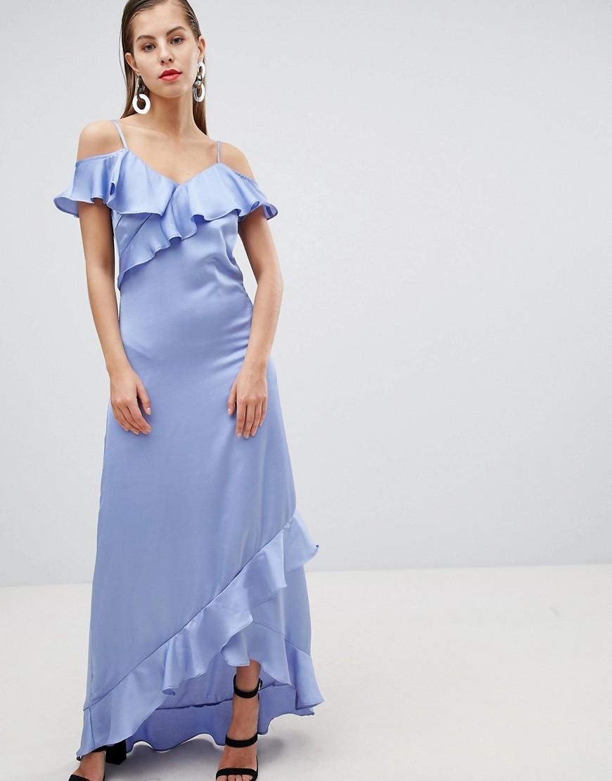 атласное платье цвет голубой