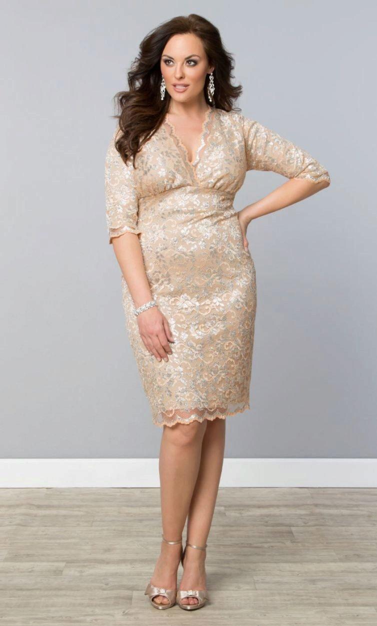 бежевое платье на полных кружевное