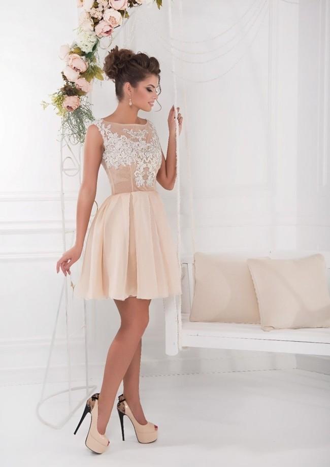 бежевое платье вечернее короткое