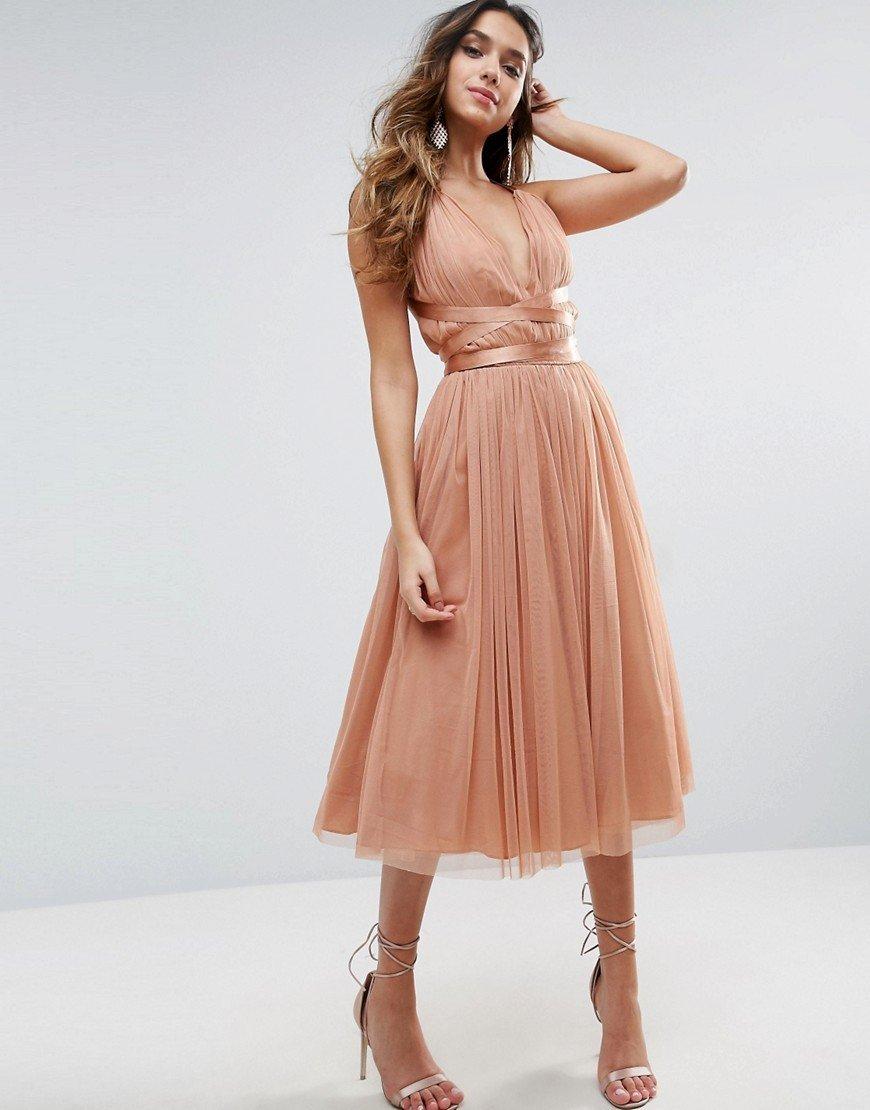 бежевое платье для выпускного