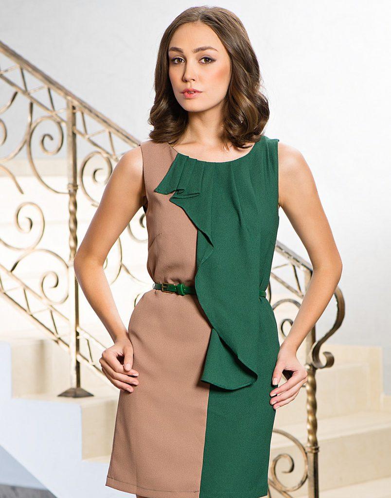 бежево-зеленое платье