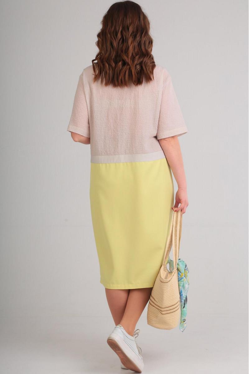желто-бежевое платье