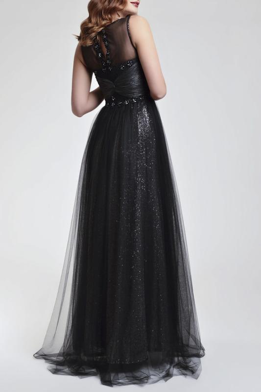 платье из фатина вечернее черное