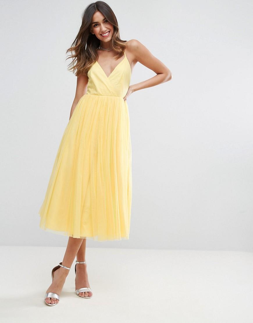 платье фатин желтый