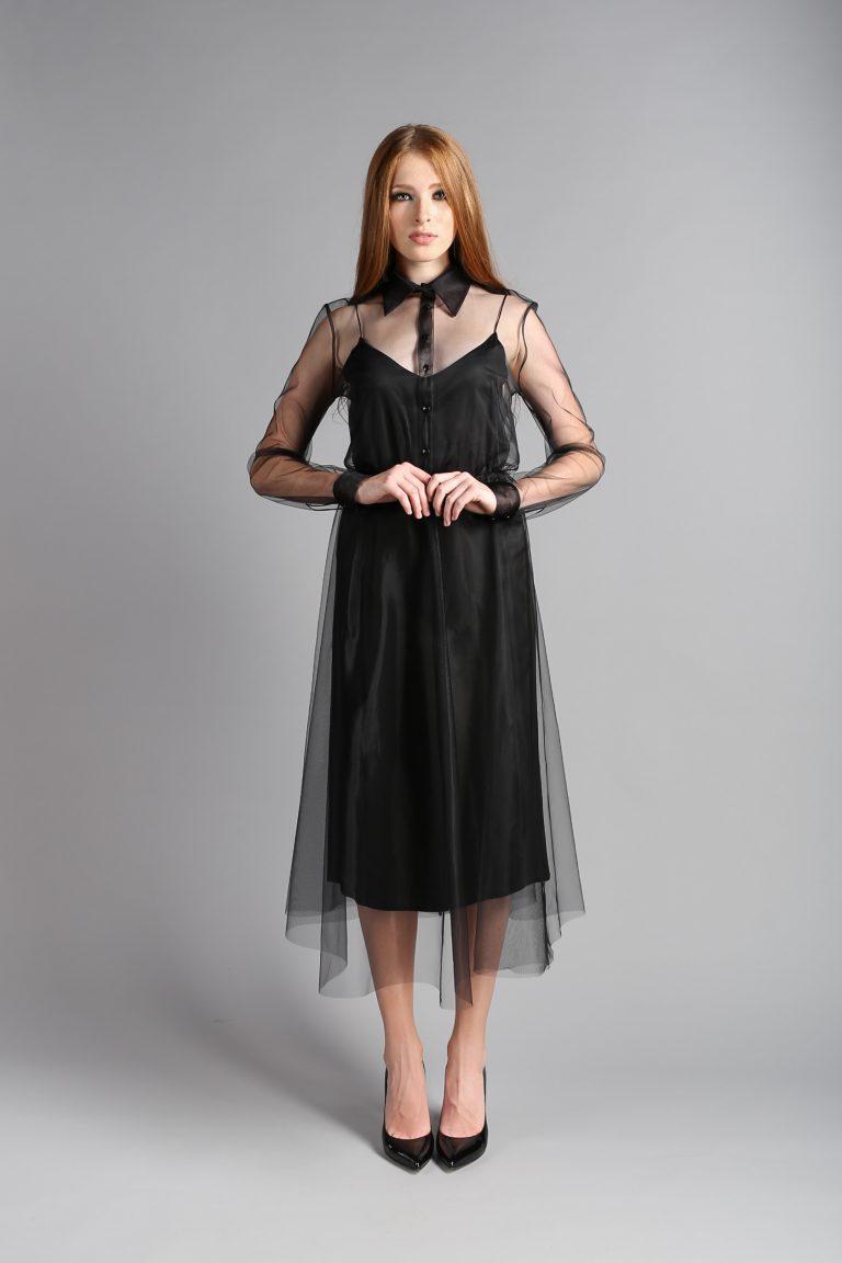 платье фатин черный