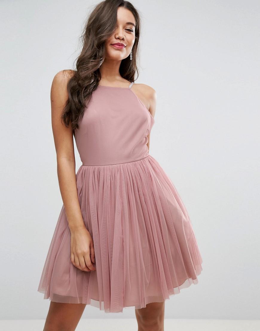 платье фатин розовый