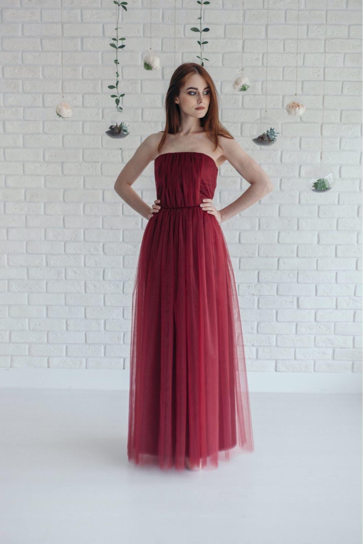 платье фатин бордовый