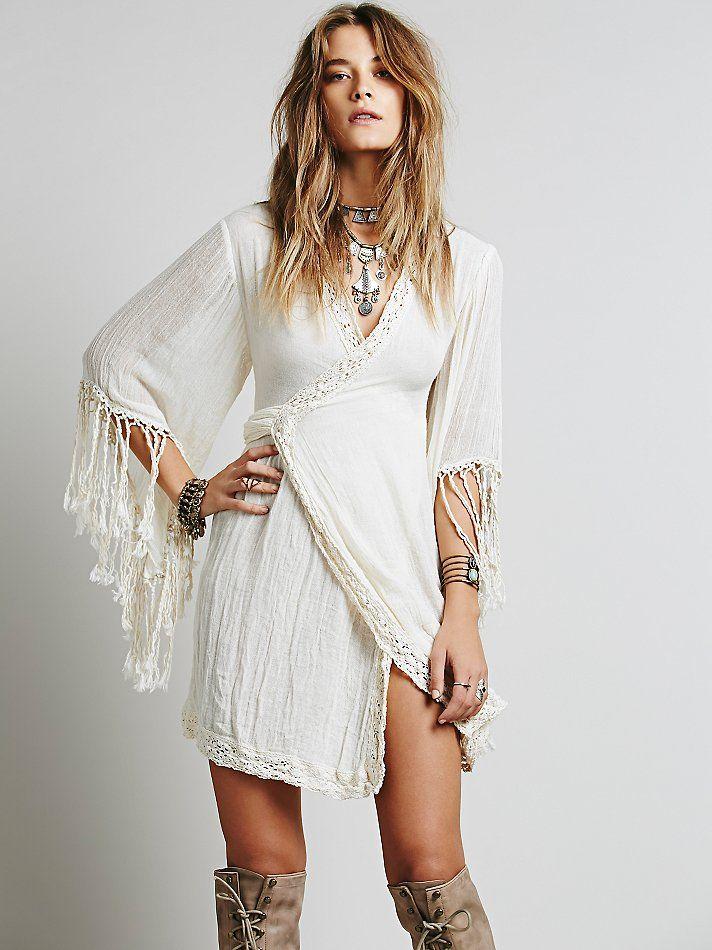 короткое платье в стиле бохо фото