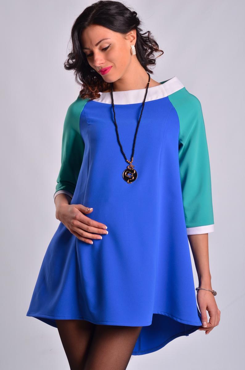 платье туника для беременных синее