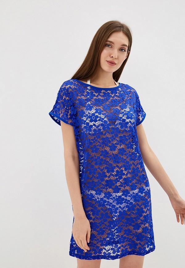 платье туника синее