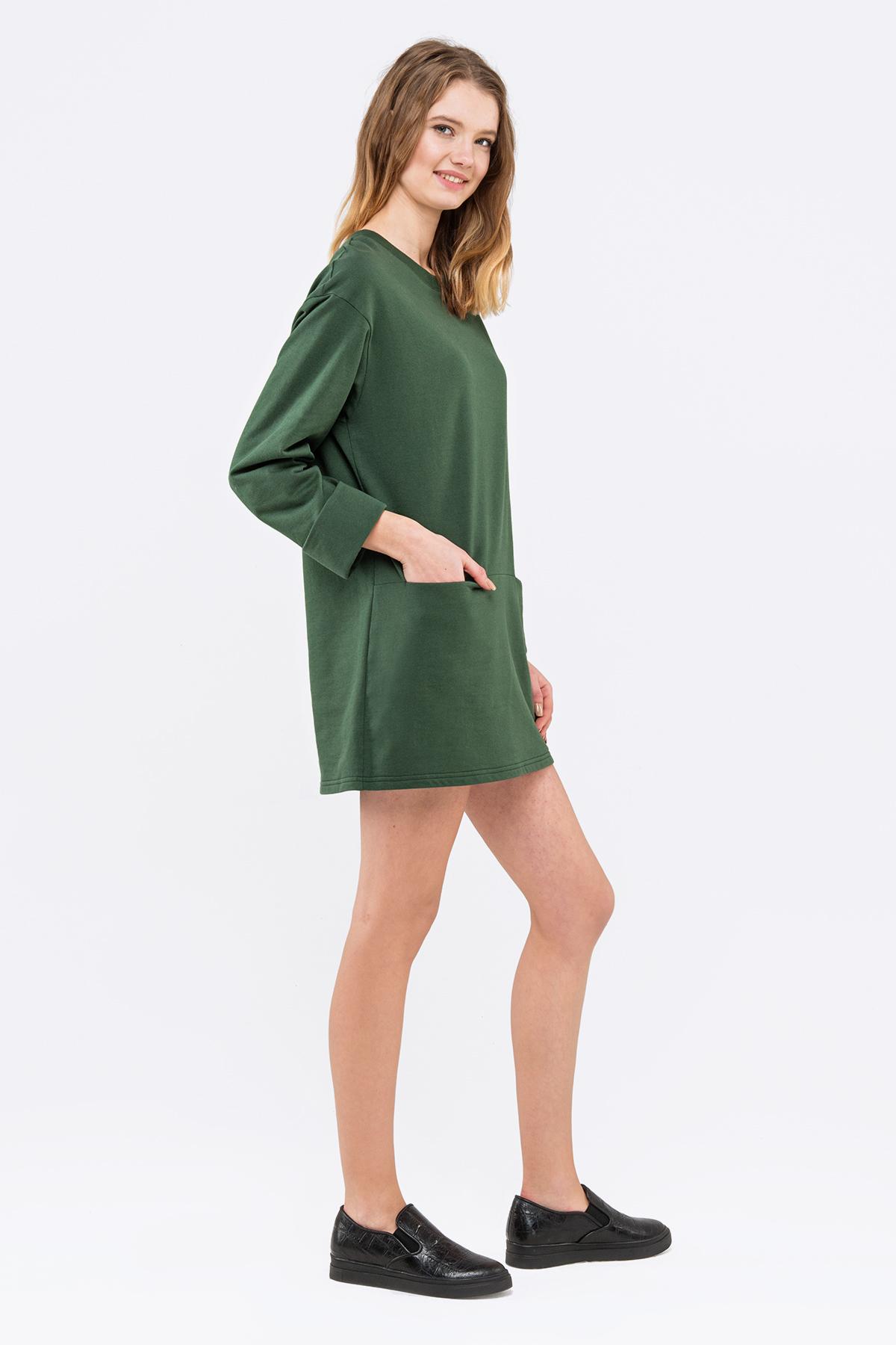 платье туника зеленое