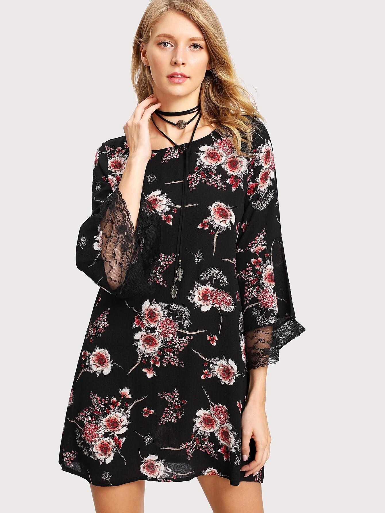 платье туника цветочный принт