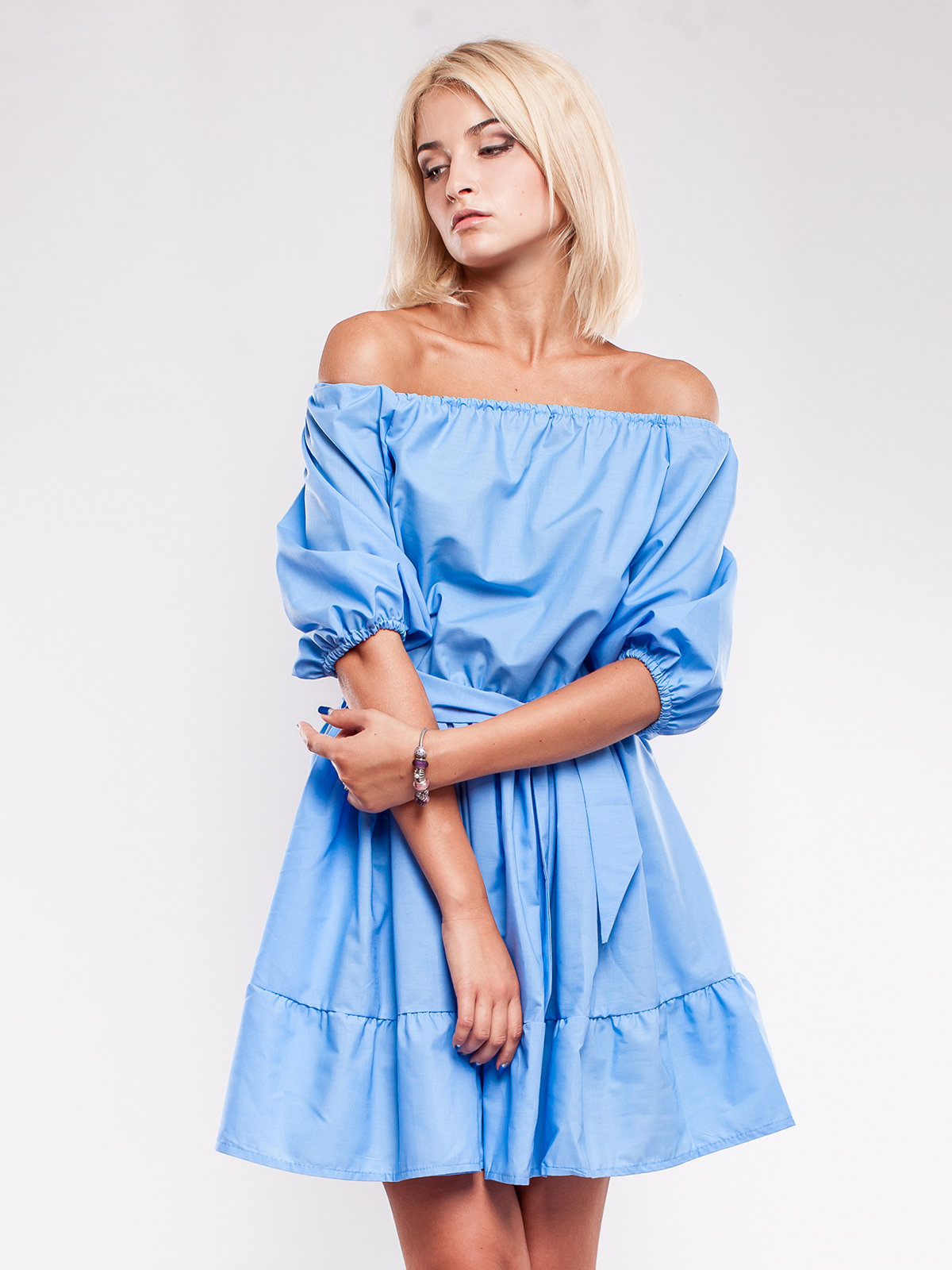 платье хлопковое цвет голубой