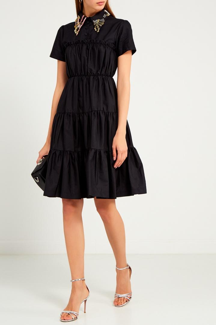платье хлопковое цвет черный