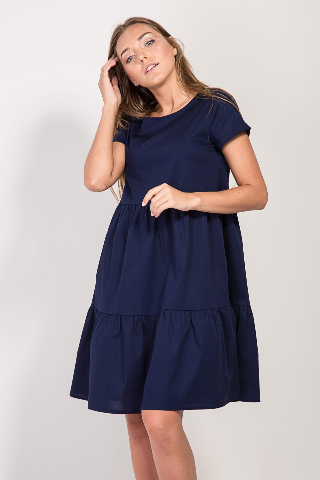 платье хлопковое синие