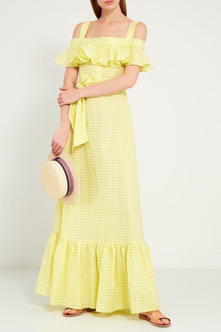 платье хлопковое цвет желтый