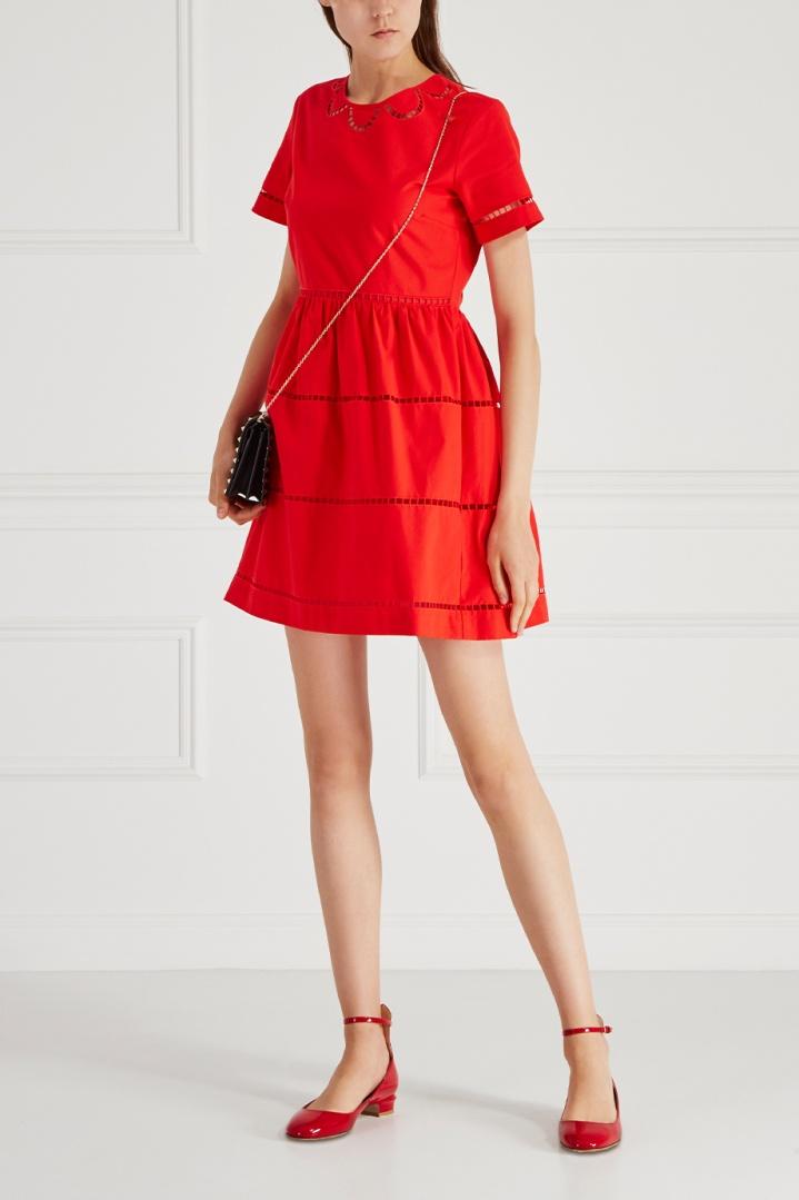 платье хлопковое цвет красный