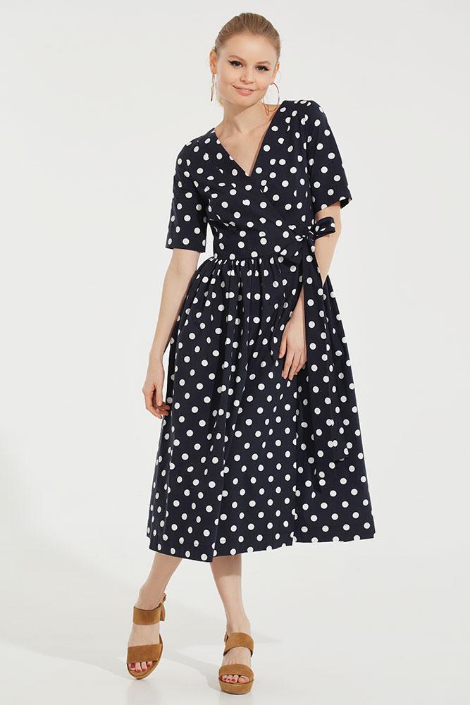 платье хлопковое в горошек