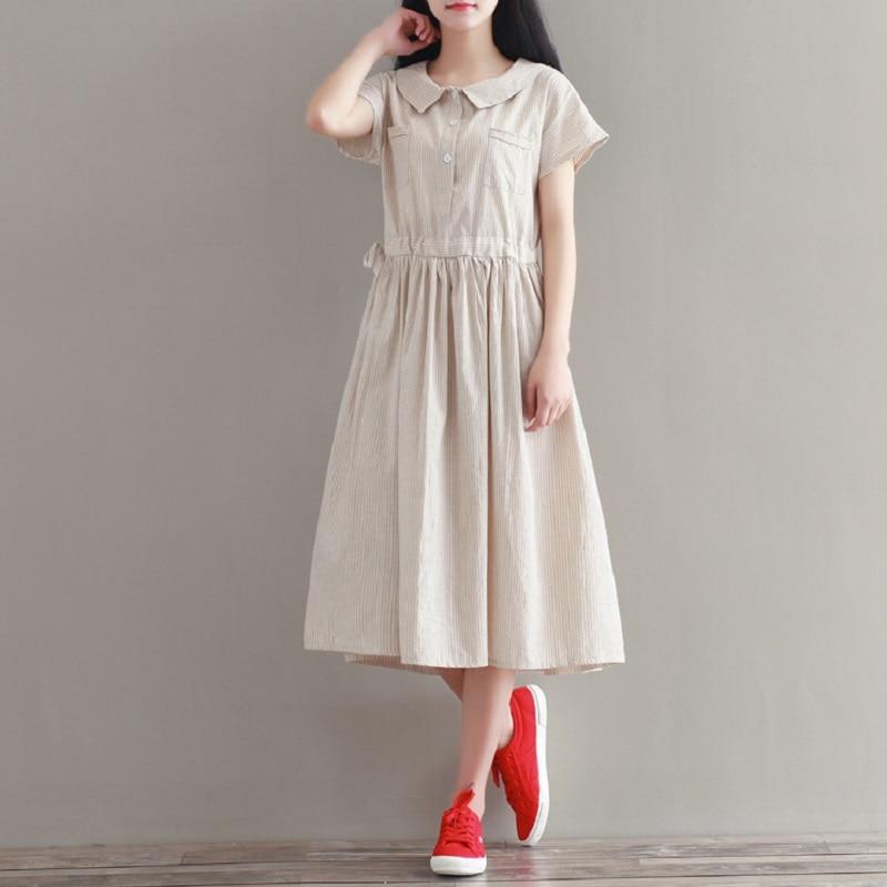 платье хлопковое с льном