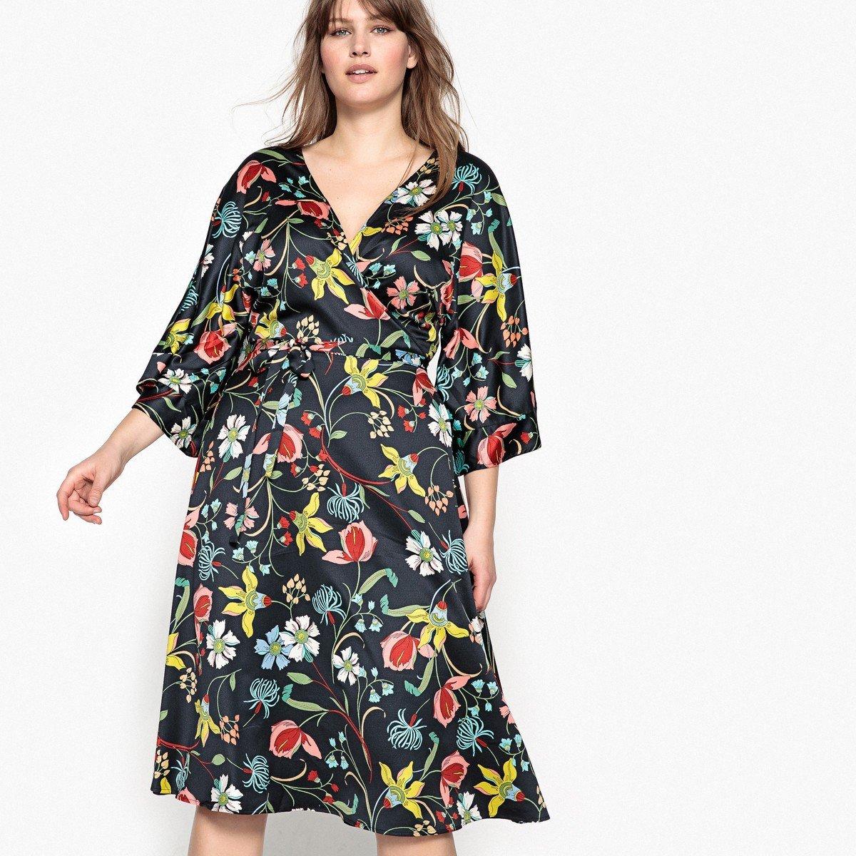 платье халат для полных женщин цветочное