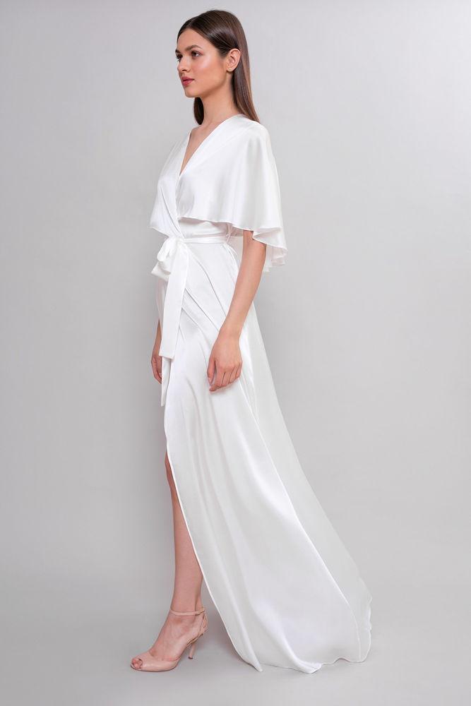 платье халат свадебное шелк
