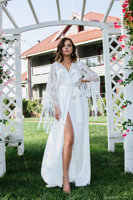 платье халат свадебное с кружевом