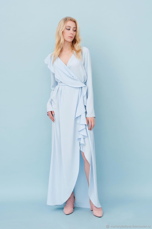 платье халат цвет голубой
