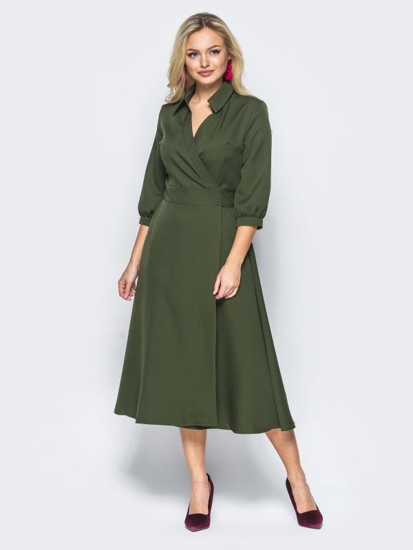 платье халат цвет хаки
