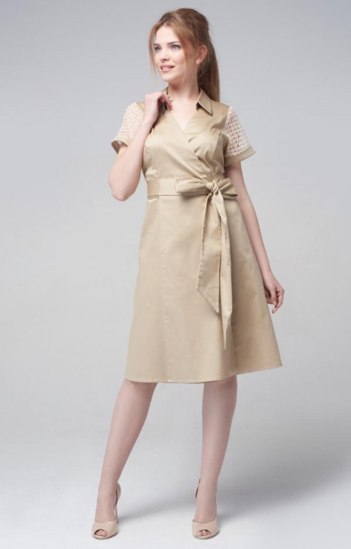 платье халат цвет бежевый