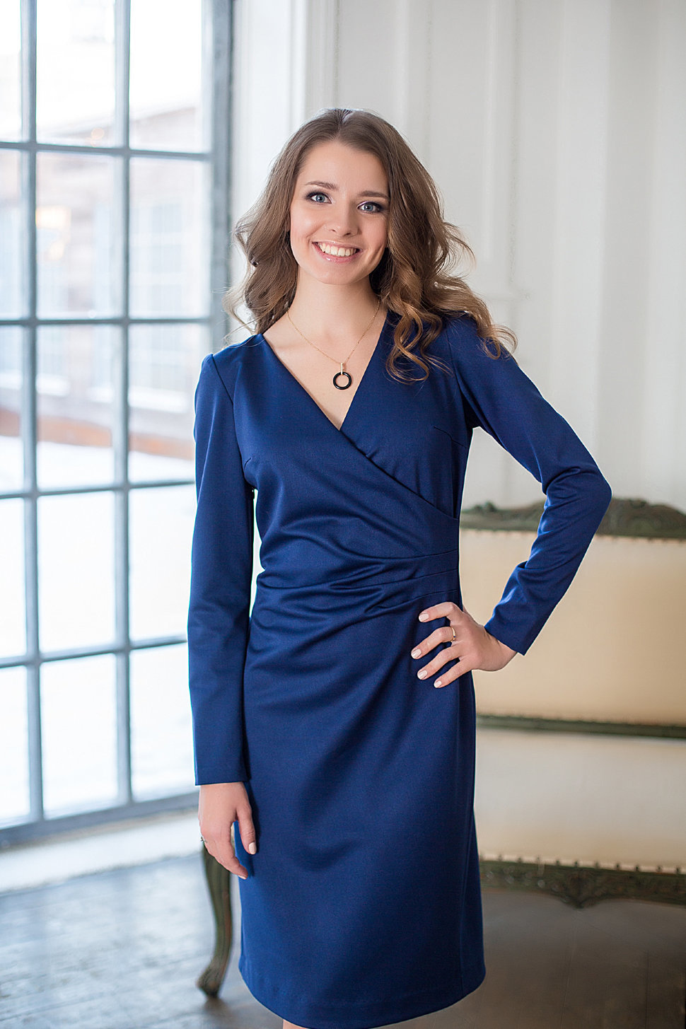 платье халат цвет синий