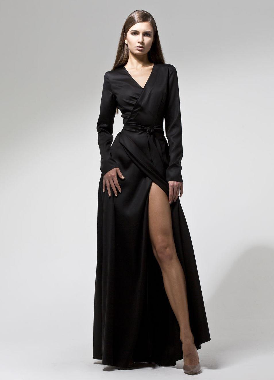 платье халат цвет черный