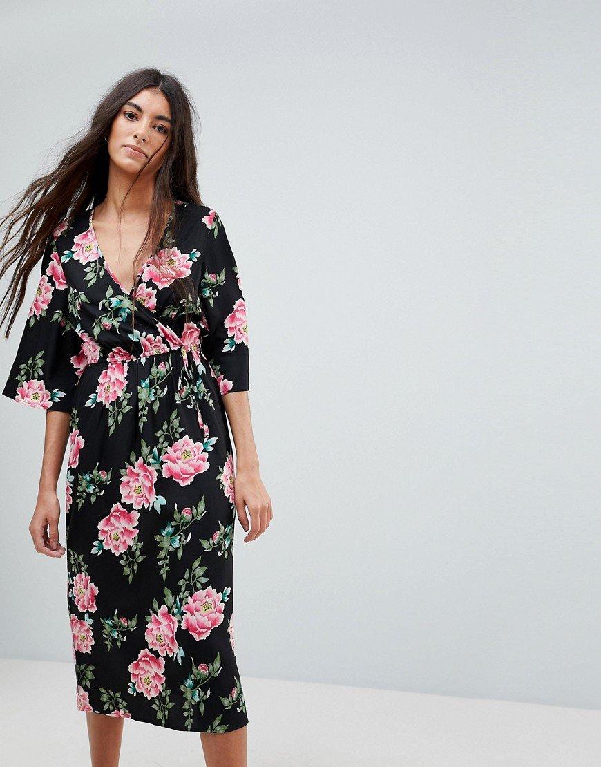 платье халат цветочный принт