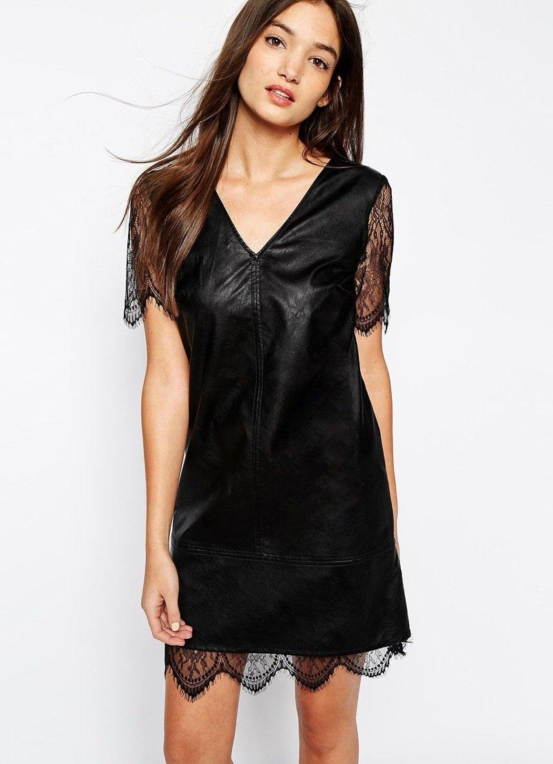 кожаное платье кружевное