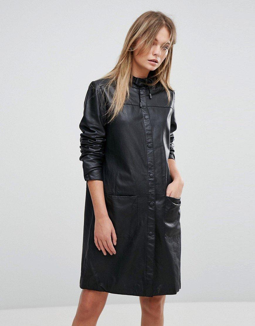 кожаное платье рубашка