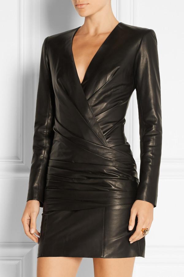 кожаное платье пиджак