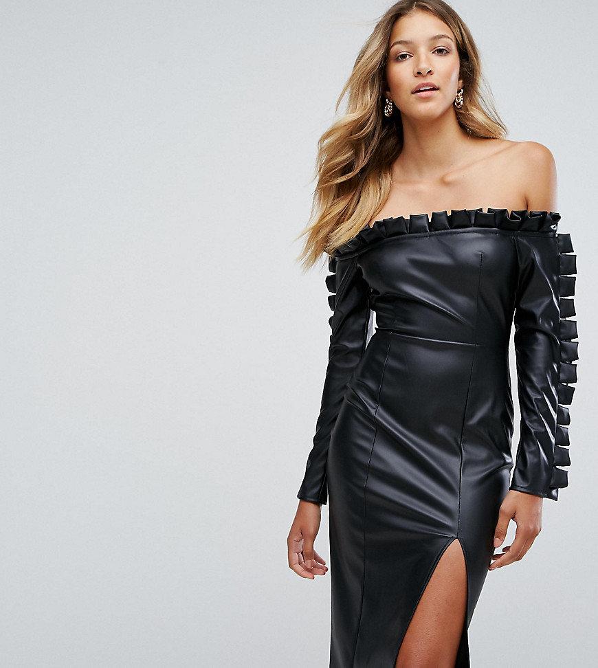 кожаное платье вечернее с открытыми плечами