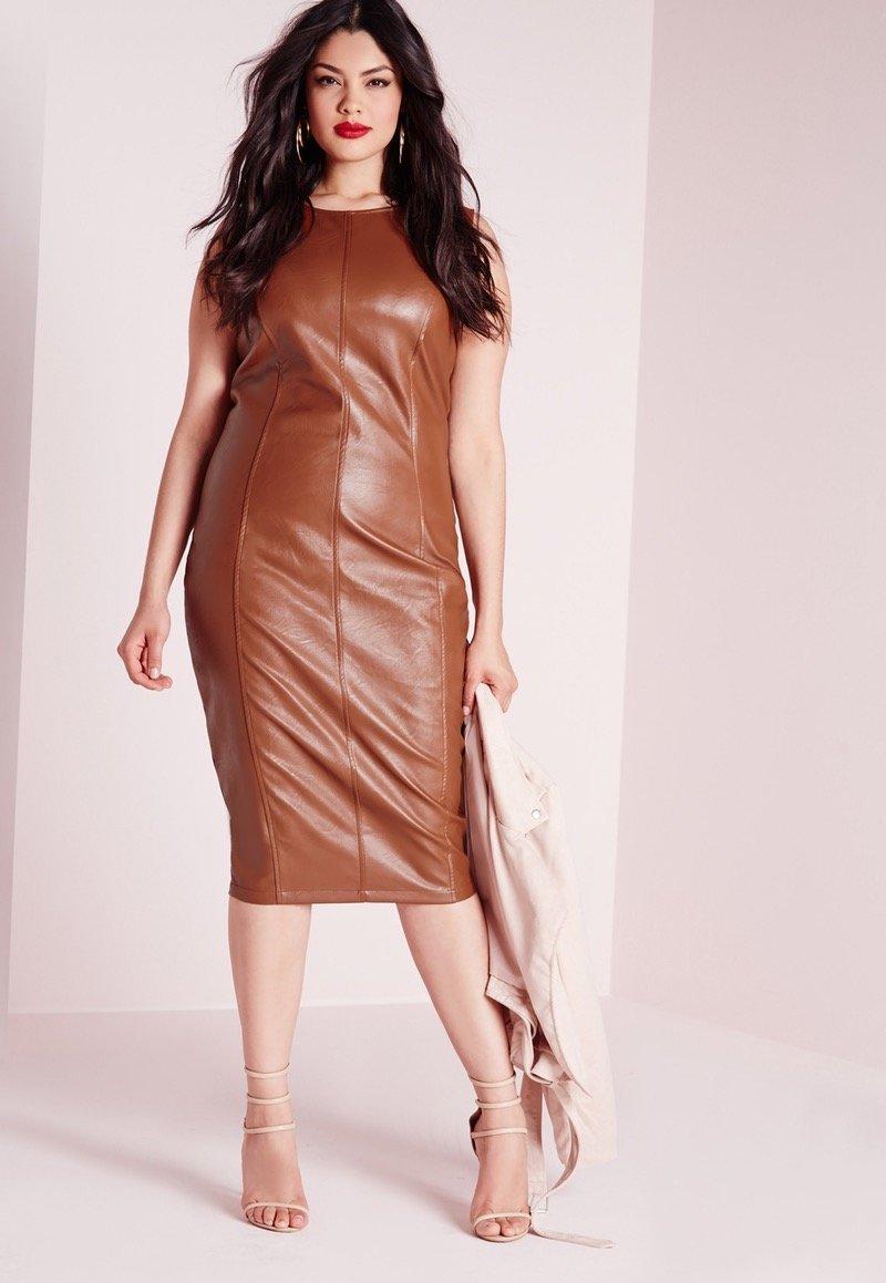кожаное платье для полных коричневое