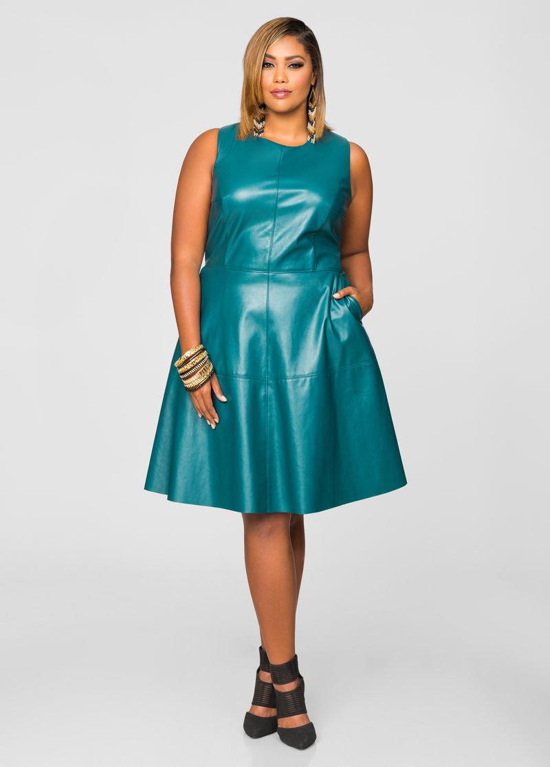 кожаное платье для полных зеленое