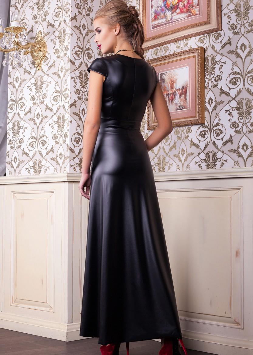 кожаное платье длинное