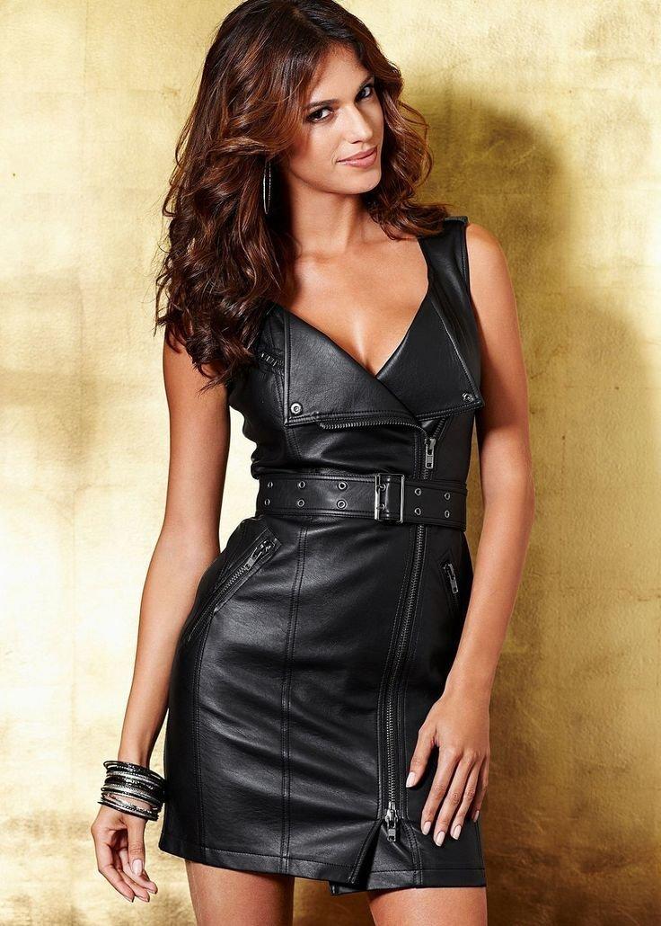 кожаное платье короткое