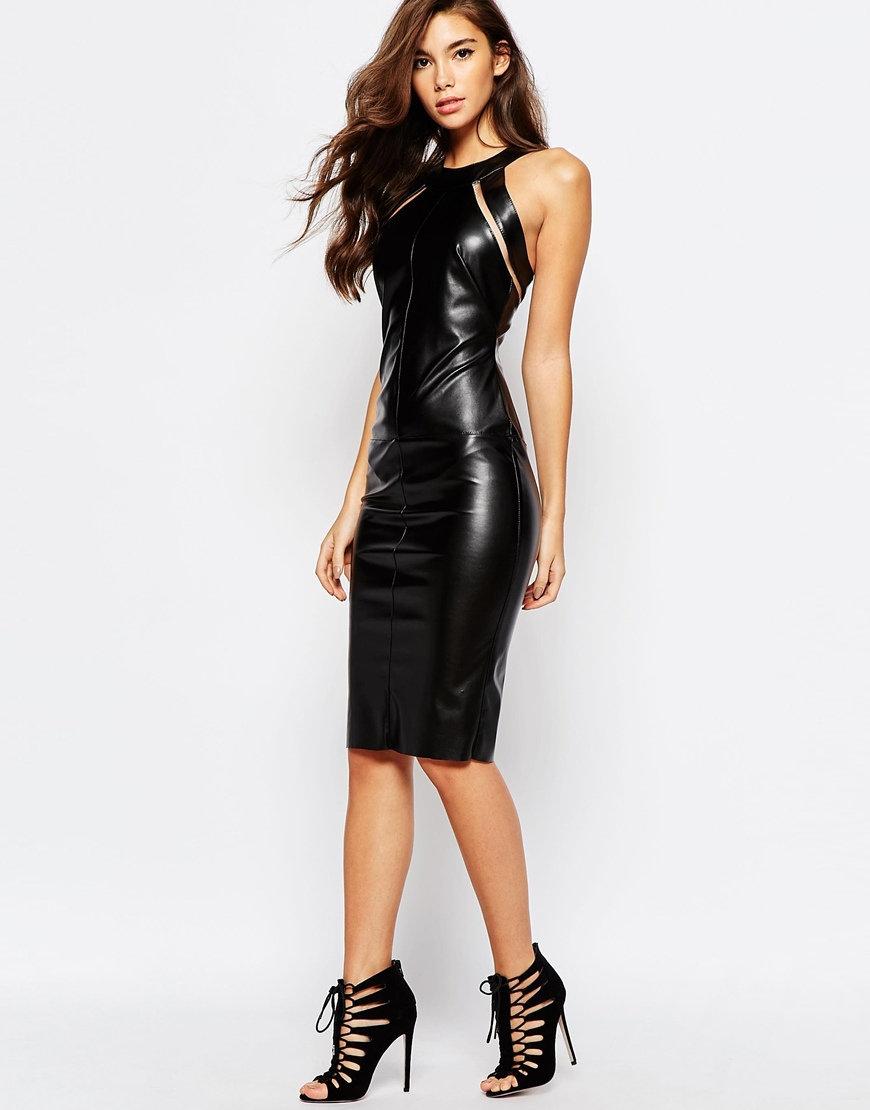 кожаное платье миди