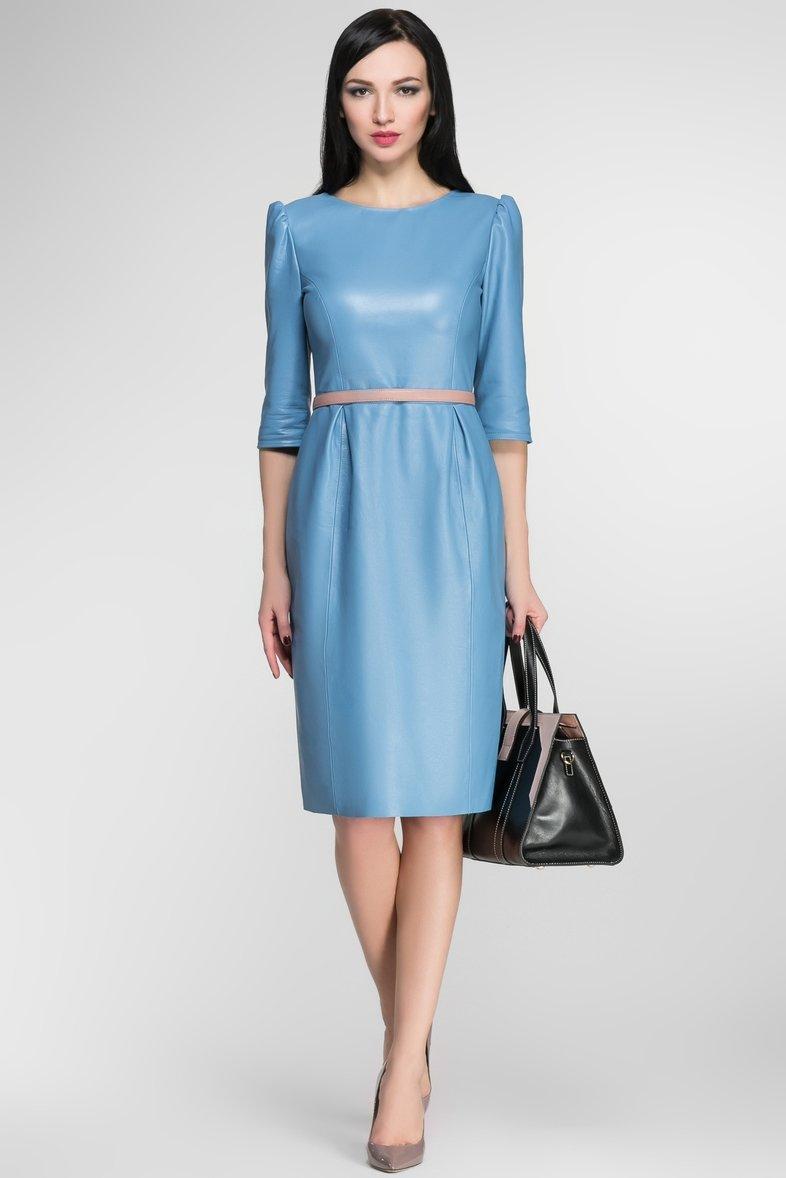 кожаное платье голубое